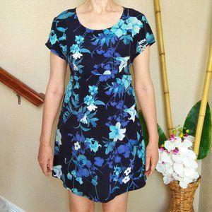 Sale! Vintage Navy Blue Floral A Line Dress